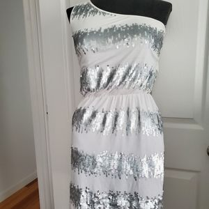TART one Shoulder White Silver Sequin Dress